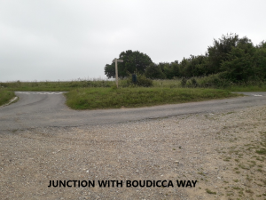 Photo showing junction with Boudicca's Way