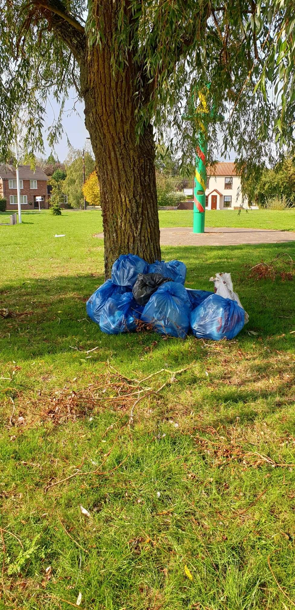 collected rubbish bags piled under a tree
